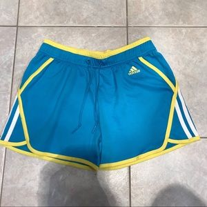 Adidas blue & yellow athletic shorts